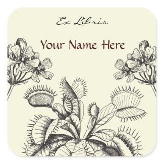Carnivorus Plant Floral Book Plate Square Sticker