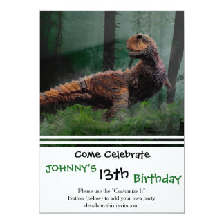 Carnotaurus Dinosaur Cretaceous Period Grass Tree Card