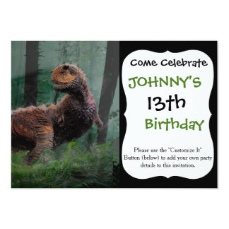Carnotaurus Dinosaur Cretaceous Period Grass Tree Card