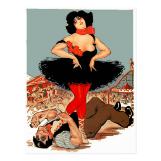Carny Queen Wins Knife Fight Vintage Poster Art Postcard