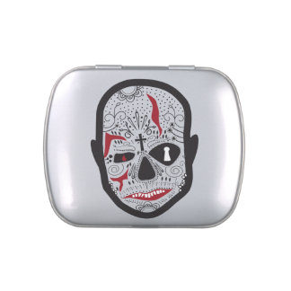 Carny Skull Candy Can Candy Tin
