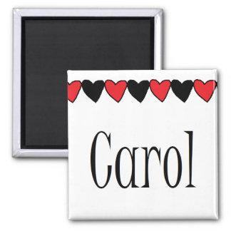 Carol Hearts Name 2 Inch Square Magnet