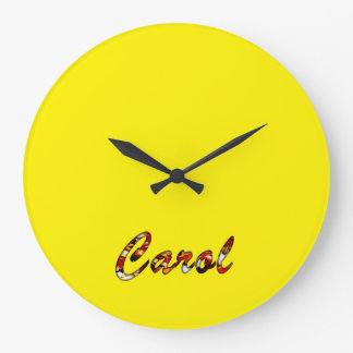 Carol Round Wall Clock for Decoration in Yellow