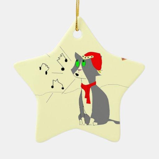 Carol singing Cat Double-Sided Star Ceramic Christmas Ornament