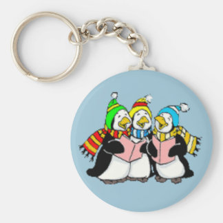 Carol Singing Penguins Kids Drawing Keychain