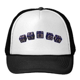 Carol toy blocks in blue trucker hat