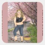 Carola in the Cherry trees Square Sticker