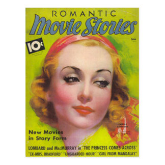 Carole Lombard on the cover of Movie Stories 1936 Postcard