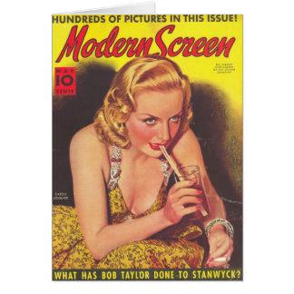 Carole Lombard y tarjeta de la portada de revista