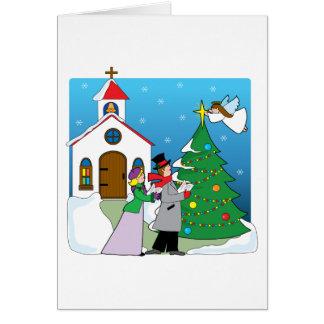 Carolers de la iglesia tarjeta de felicitación
