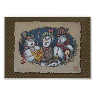 Carolers del navidad de los muñecos de nieve foto