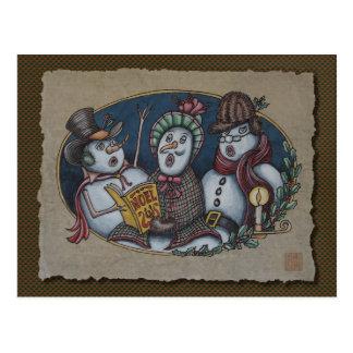 Carolers del navidad de los muñecos de nieve postales
