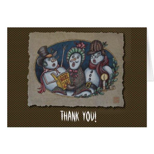 Carolers del navidad de los muñecos de nieve tarjeta pequeña