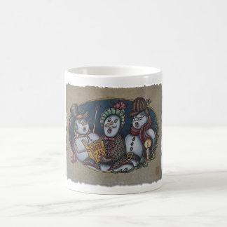 Carolers del navidad de los muñecos de nieve tazas de café