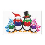 Carolers del navidad de los pingüinos con los gorr lienzo envuelto para galerías