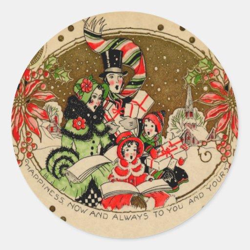 Carolers del navidad pegatina redonda