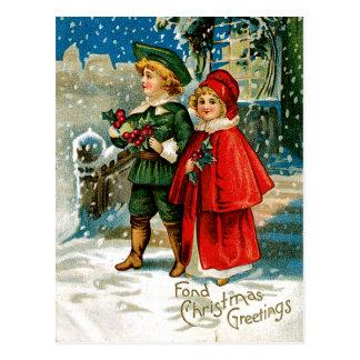 Carolers del navidad postales