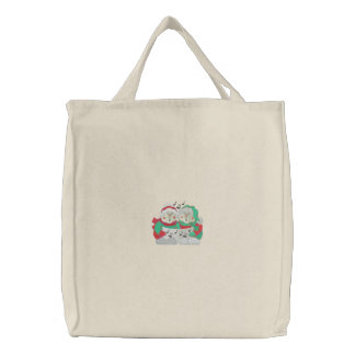Carolers Embroidered Tote Bag