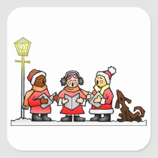Carolers estilizados Caroling del navidad del Pegatina Cuadrada