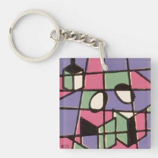 Carolers Single-Sided Square Acrylic Keychain