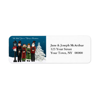 Carolers Winter Scene Label