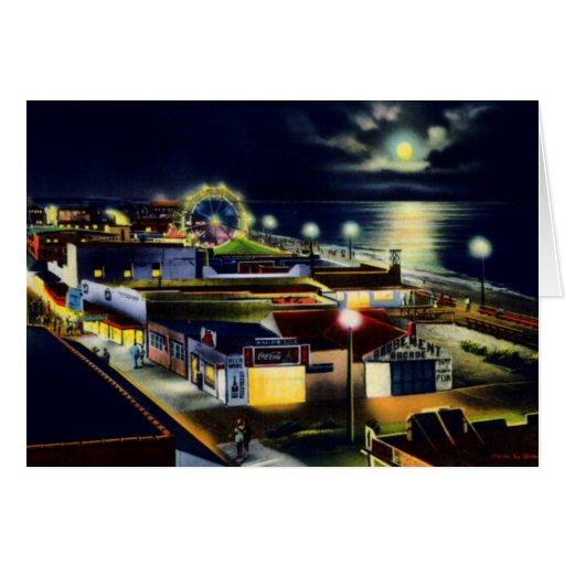 Carolina Beach North Carolina Town View at Night Card