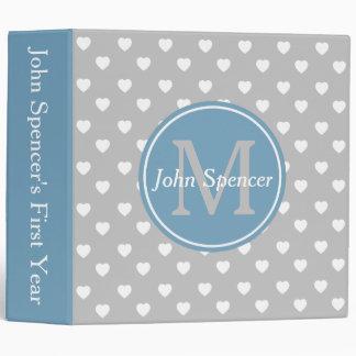 Carolina Blue and Ash Grey Hearts Monogram Binder