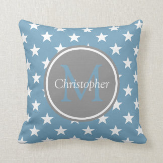 Carolina Blue and Dove Grey Stars Monogram Throw Pillow
