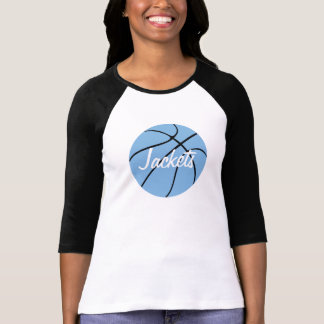 Carolina Blue Basketball Custom 3/4 Sleeve Raglan T-Shirt