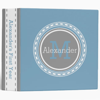 Carolina Blue Dove Grey Personalized Monogram Binder