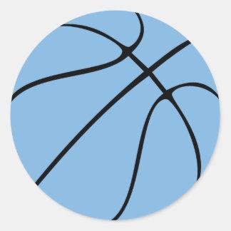 Carolina Blue Light Blue Custom Basketball Classic Round Sticker