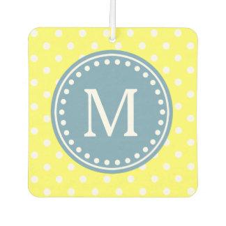 Carolina Blue on Spring Yellow and White Polka Dot