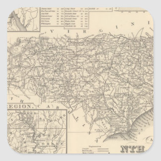 Carolina del Norte 6 Pegatina Cuadrada