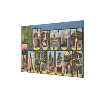 Carolina del Norte (Capital del Estado/flor) Lienzo Envuelto Para Galerías
