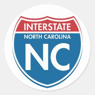 Carolina del Norte de un estado a otro NC Pegatina Redonda
