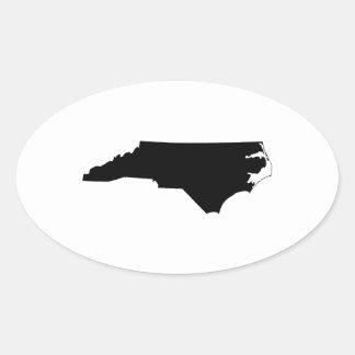 Carolina del Norte en blanco y negro Pegatina Ovalada