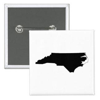 Carolina del Norte en blanco y negro Pin Cuadrada 5 Cm