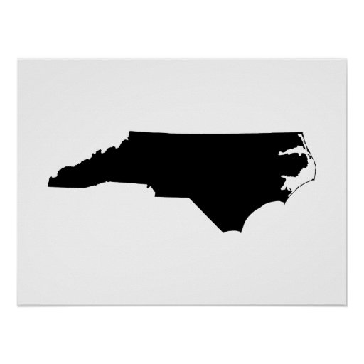 Carolina del Norte en blanco y negro Poster