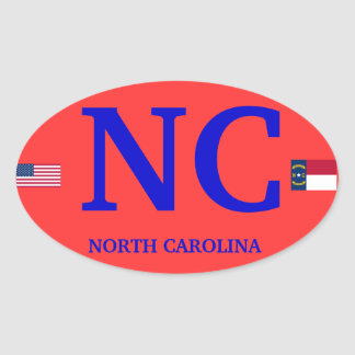 Carolina del Norte * óvalo europeo del estilo Pegatina Ovalada