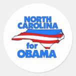 Carolina del Norte para Obama 2012 Pegatina Redonda