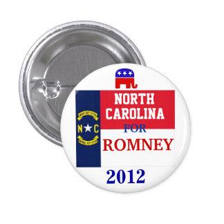 Carolina del Norte para Romney 2012 Pin Redondo 2,5 Cm