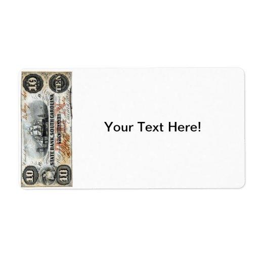 Carolina del Sur 1860 nota de diez dólares Etiqueta De Envío