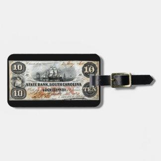 Carolina del Sur 1860 nota de diez dólares Etiquetas Para Equipaje