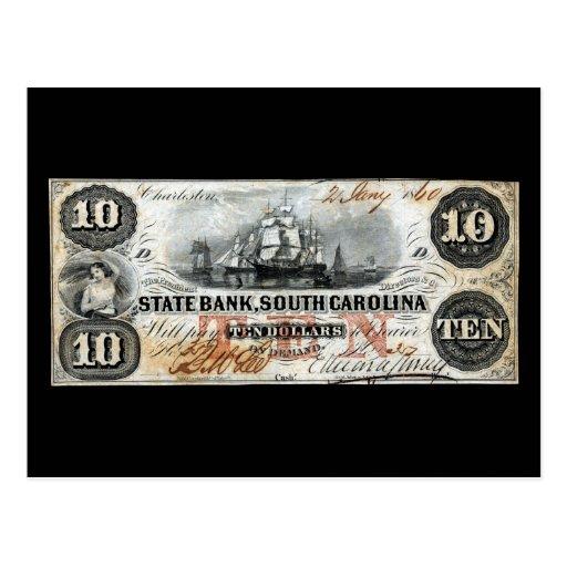 Carolina del Sur 1860 nota de diez dólares Postales