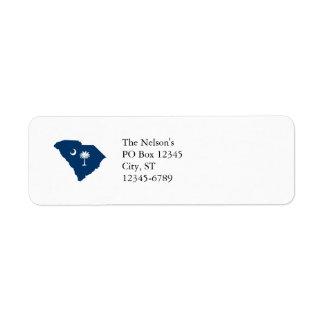 Carolina del Sur en azul y blanco Etiqueta De Remite