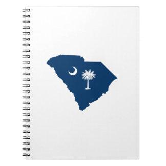 Carolina del Sur en azul y blanco Libro De Apuntes Con Espiral