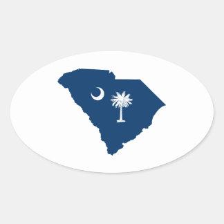 Carolina del Sur en azul y blanco Calcomania Ovalada
