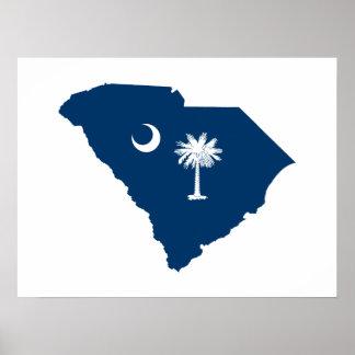 Carolina del Sur en azul y blanco Póster
