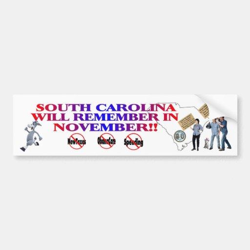 Carolina del Sur ObamaCare anti, nuevos impuestos, Pegatina Para Auto