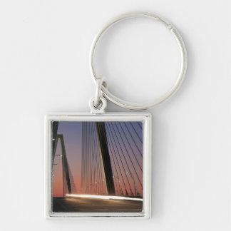 Carolina del Sur, puente del Jr. de Arturo Ravenel Llavero Cuadrado Plateado